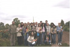 Dr. Laimute Stuopyte (6 from the left) with group students of Lithuanian Agricultural University visited our flower plantations. Paulius Ciplijauskas in the left.